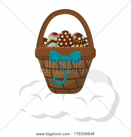 brown hamper with ribbon bow and eggs easter inside, vector illustration