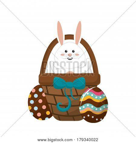 rabbit easter inside of hamper and eggs outside, vector illustration
