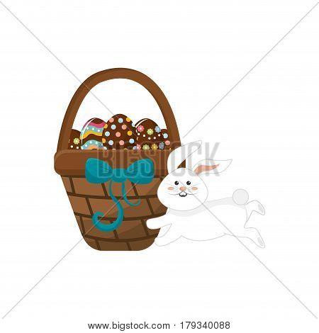 eggs easter inside the hamper and rabbit running, vector illustration