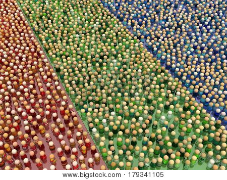 Crowd of small symbolic figures red green and blue color groups 3d illustration horizontal
