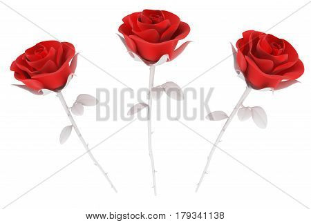 Red top three roses 3d illustration isolated horizontal over white