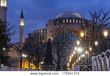 Evening long exposure view of the Hagia Sophia on the Sultanahmet Square in Istanbul TURKEY ISTANBUL - MARCH 2017