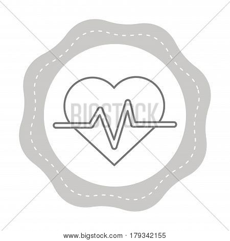 figure sticker heartbeat cardio vital sign, vector illustration