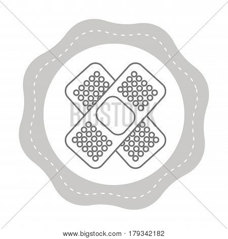 figure sticker aid band protection tool, vector illustration