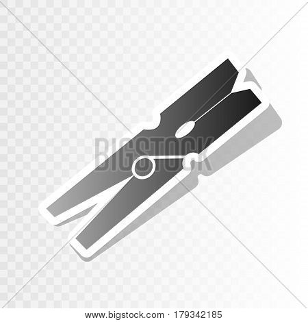 Clothes peg sign. Vector. New year blackish icon on transparent background with transition.