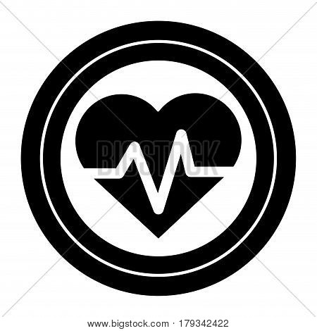 contour sticker heartbeat cardio vital sign, vector illustration