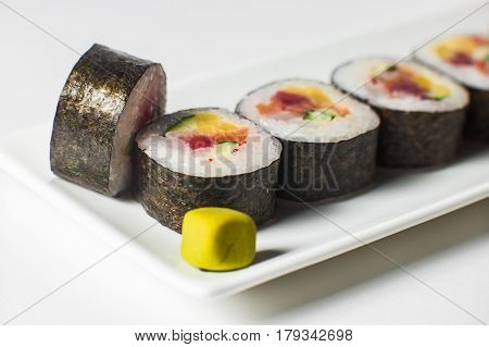 Large Set With Sushi And Rolls.