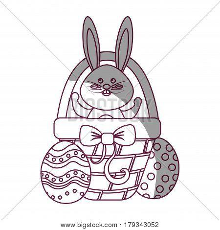 figure rabbit easter inside of hamper and eggs outside, vector illustration