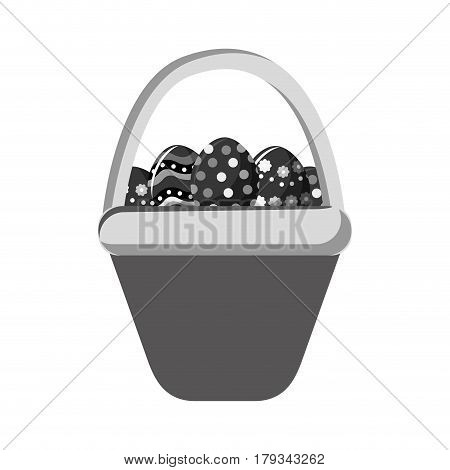 grayscale hamper with eggs easter inside, vector illustration