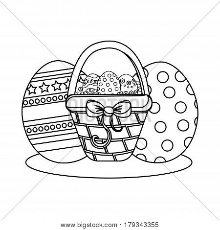 figure hamper with ribbon bow and eggs easter inside, vector illustration