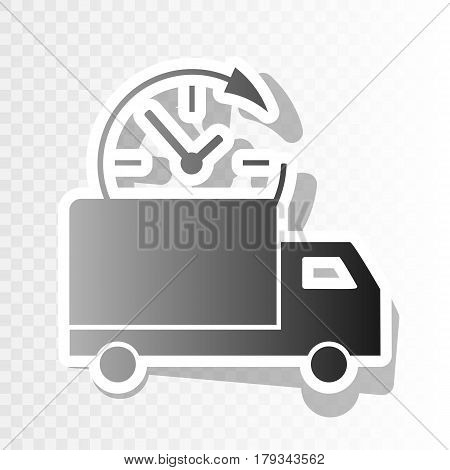 Delivery sign illustration. Vector. New year blackish icon on transparent background with transition.