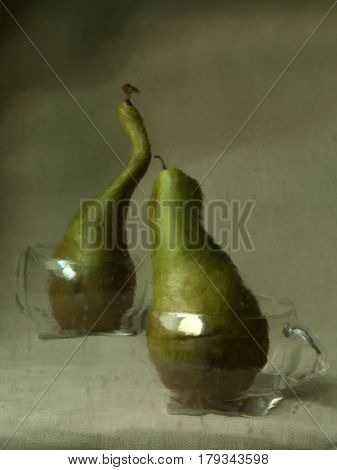 Two Curved Green Pears In Glass Cups With Handles, A Picture Through The Wet Glass, Which Makes It L
