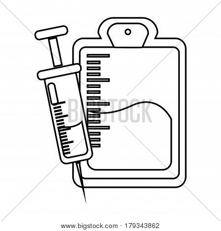 figure blood donation bag with syringe transfusion, vector illustration design