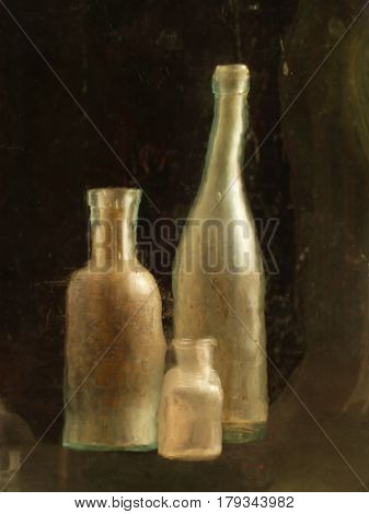Three Antique Antique Bottles Of Golden Color, Different Size, One Sparked, Shot Through The Oil Gla