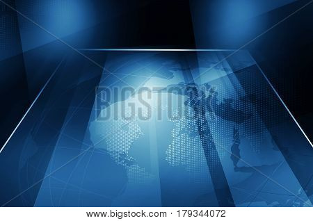 Earth Globe Inside Big Flat TV Screen Blue THeme Background. 3d Illustration