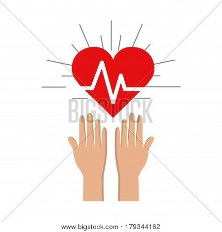 hands with heartbeat vital sign up, vector illustration