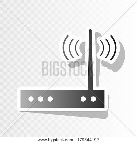 Wifi modem sign. Vector. New year blackish icon on transparent background with transition.