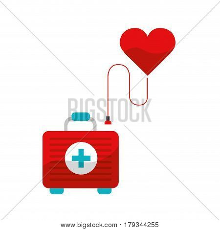 heart transfusing blood in the first aid kit, vector illustration