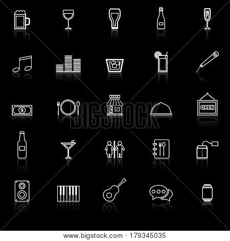Bar line icons with reflect on black background, stock vector