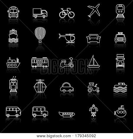Transportation line icons with reflect on black background, stock vector