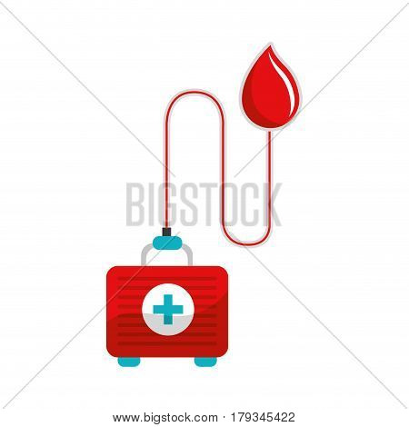 drop transfusing blood in the first aid kit, vector illustration