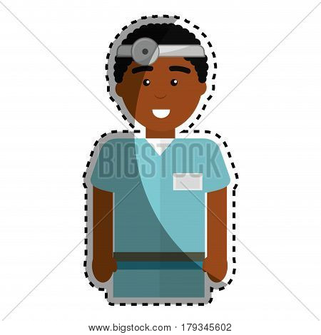 doctor with medical glasses and reflector, vector illustration design