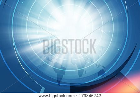 Graphical Abstract Technology Background Circular Curve Lines with Zoom Effect. 3d Illustration 3d Render. 3d Illustration
