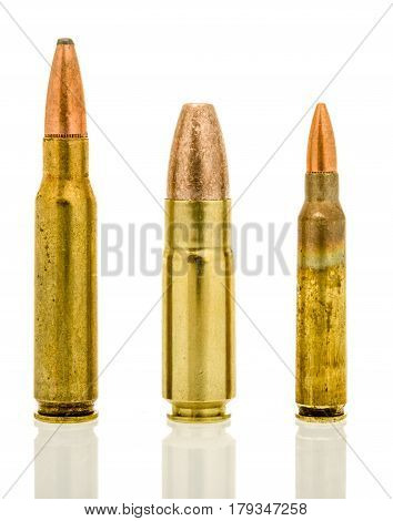 Shot of three standard military rounds for the AR-15 platform. 7.62mm 458 SOCOM and the 5.56mm