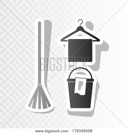 Broom, bucket and hanger sign. Vector. New year blackish icon on transparent background with transition.