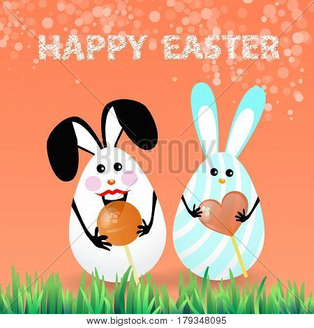 Cute bright easter illustration for your design. Cartoon two funny eggs - rabbits with caramel in the shape of a circle and heart