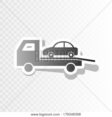 Tow car evacuation sign. Vector. New year blackish icon on transparent background with transition.