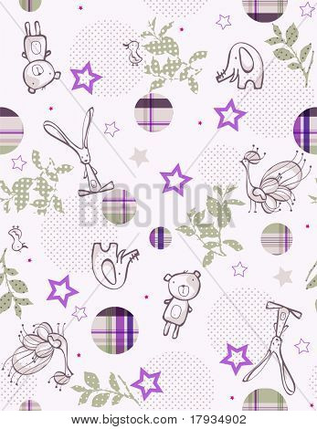 Vector Children's Jungle with plaid bubbles  (Seamless Pattern)