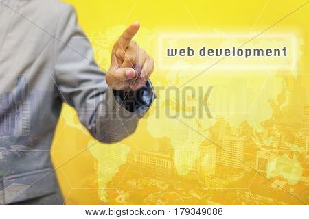Web Development Word On Touchscreen With Futuristic Concept.