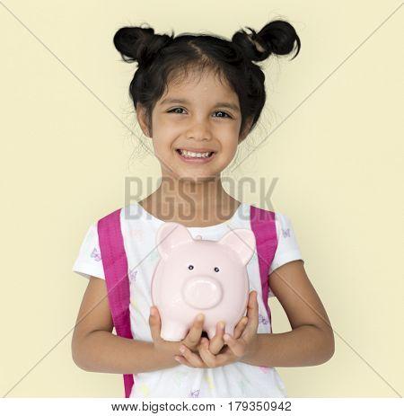 Kid Studio Shoot Gesture Piggybank Holding
