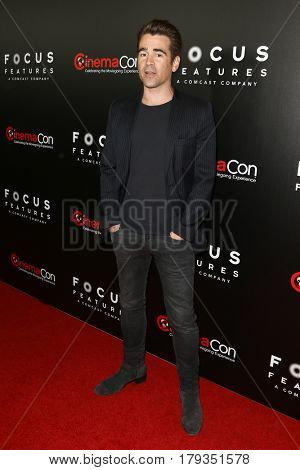LAS VEGAS-MAR 29: Actor Colin Farrell attends the Focus Features presentation at Caesars Palace during CinemaCon on March 29, 2017 in Las Vegas, Nevada.