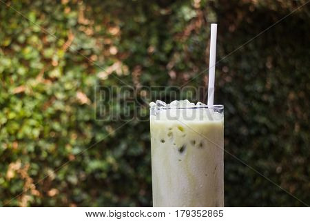 Matcha Tea With Milk On Garden Table stock photo