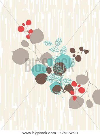 Vector floral with texture on background