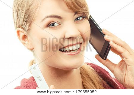 Smiling Woman With Mobile Phone Informing Someone About Positive Pregnancy Test
