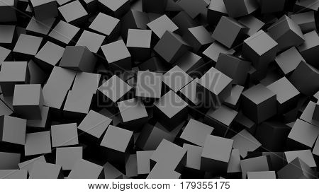 Infinite black cubes background. 3D Rendering illustration.
