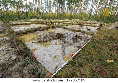 The site of the archaeological excavation at the stage of the emergence of the continent