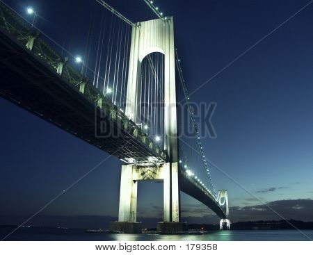 view of beautiful verrazano bridge in the night light poster