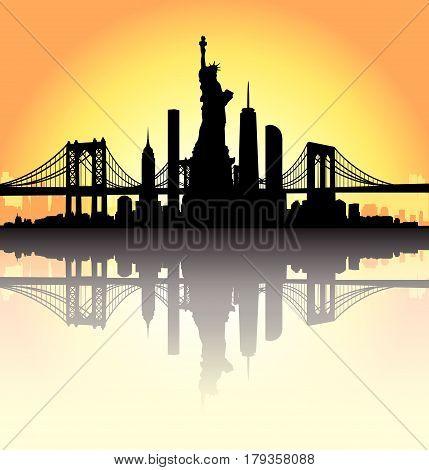 Sunset New York City Skyline Vector