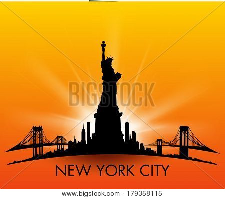 Sunset New York City Skyline With Statue Of Liberty Vector