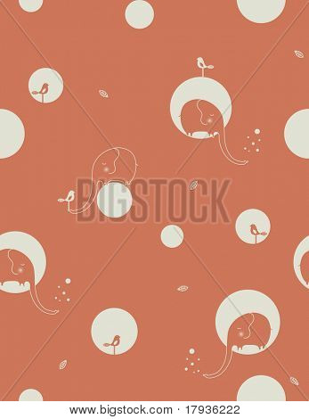 Vector seamless pattern displaying cute and shy baby elephant and a bird.