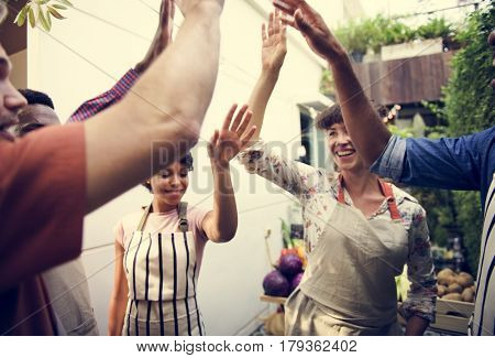 Group of Diverse People Hands Out Together Teamwork