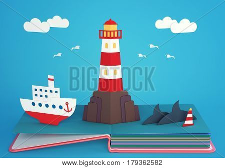 Pop up book with lighthouse on rocky island and steamship. 3D rendering