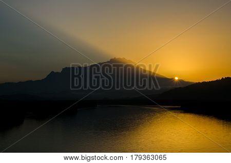 Beutiful sunrise during early morning at Mengkabong River located at Sabah, Malaysia