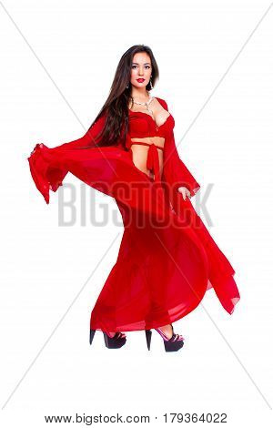 Pretty woman Dancer in red bathrobe and red luxury lingerie.
