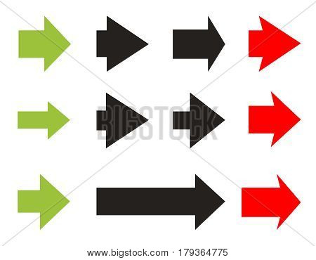 Set color and black Arrows and directions signs in flat style for business. Vector isolated  arrows on white background. Dynamic arrow symbol. Forward, beginning, play, start.