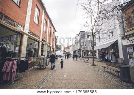 Fashion Stores On The Main Street Of Haderslev City